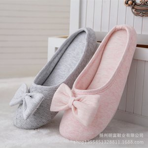 Spring Japanese lovely lady bowknot cotton home shoes for women with home slippers