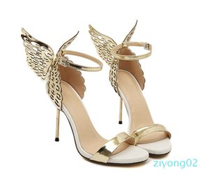 2017 Summer Sophia Vampire Diaries fantasy butterfly wing high heel sandals gold silver wedding shoes size 35 to 40 02z