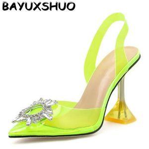 Talón BAYUXSHUO Sun Flower sandalias de las señoras de cristal del vidrio de vino tacones altos posterior correas del estilo romano sandalias del partido del verano zapatos de las mujeres Y200702