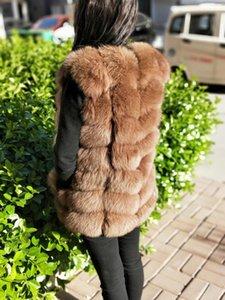 caliente de LANSHITINA mujeres de la manera chaleco de la capa del chaleco del hombro invierno cálido abrigo de piel corta la hierba de cuero