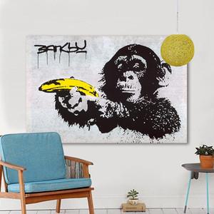 Schimpanse hält eine Banane handgemalte HD Print Home Wall Decor Banksy Graffiti Kunst Ölgemälde auf hochwertige Leinwand Multi Größen G160
