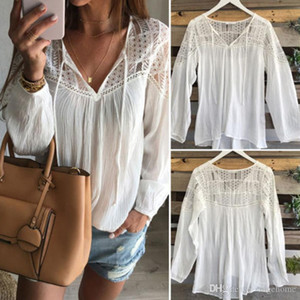 2016 Spring Fashion Long Sleeve Casual V-Neck Lace Patchwork Hollow Out Blouses Shirt Tops Sexy Women Blusas
