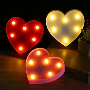 Lâmpadas Romantic Love 3D Heart Letter Marquee Decoração Wedding Party Day interior Nights Lâmpadas LED Night Light Namorados