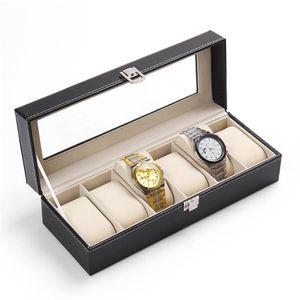 LiSCN Caja de reloj de 5 cuadrículas cajas de reloj caja de cuero de la PU Caja Reloj Negro Holder Boite Montre joyería caja de regalo 2018