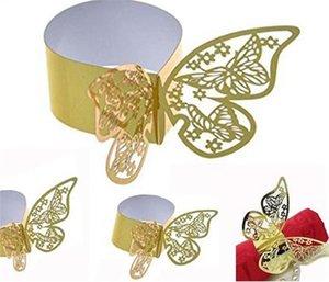 Oco borboleta anéis de guardanapo borboleta Papel anéis de guardanapo 22 * 5,8 centímetros Hotel Refeição Guardanapo Buckle bebê Wedding Shower Decor Tabela do partido