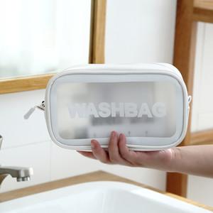 New fashion travel storage wash cosmetic bag portable female waterproof pvc transparent portable finishing square bag