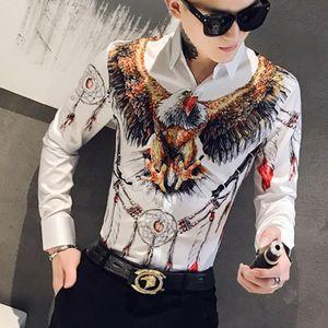 Designer 3D Aquila Stampa della camicia degli uomini abito a maniche lunghe casuali dimagriscono le camice Mens sociali Night Club Bar Streetwear Abbigliamento Camisa