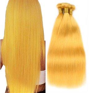 Ofertas recto sedoso humano amarillo armadura del pelo 3 paquetes 300g Moda Virgen amarillo pelo indio de doble tramas Extensiones de 3 piezas Lote