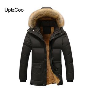 UplzCoo 2019 Зимнее новое мужское пальто Толстая теплая хлопковая куртка Тонкий повседневный Patchwo хлопок меховой воротник ветрозащитная куртка с капюшоном FM129