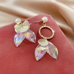 Fée arc-en-Glitter Arcylic sirène Boucles d'oreilles femmes douce Shinning Résine Simulé Perle Big Déclaration Dangle Boucles d'oreilles Bijoux
