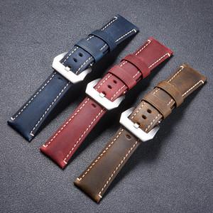 손목 시계 크기의 22mm 24mm의 26mm 블랙 레드 블루 시계 손목 밴드 팔찌의 로고에 대한 PANER 정품 가죽 시계 밴드 스트랩