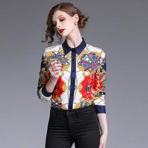 2020 Fashion Designer Runway Tops Women Blouses Long Sleeve Shirt Luxury Printed Blouse Womens Tops And Blouses Camisa Feminina