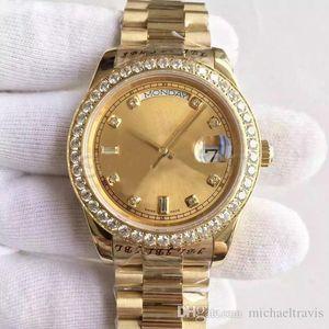 Montre pour homme série DATE-218348A, cadran en or 18K, incrustation de diamants, montre mécanique automatique, bracelet pour président, boucle déployante d'origine, vendue