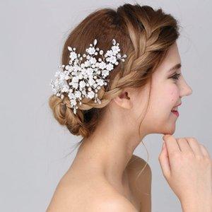 Beijia Chegada Nova Handmade Floral Acessórios nupcial grampo de cabelo Comb Wedding Headpiece Crystal Pearl Tiara Mulheres Headwear