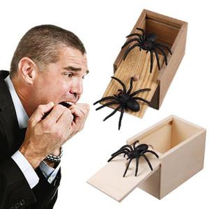 Holz Prank Spinne Wanzen-Schreckens-Box-Streich-Spielzeug des ersten Aprils Spoof Lustige Scare kleine Holzkiste Home Office Scare-Spielzeug-lustiges Geschenk