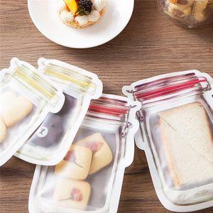 Großhandel Mason Jar Shaped Nahrungsmittelbehälter Plastiktasche Klar Mason Flasche Modelling Zippers Lagerung Snacks Plastikbox