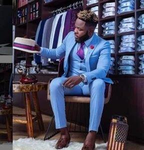 Costome Homme Blue 2020 Men Suits For Wedding Custom Made Slim Fit Groomsmen Tuxedos Handsome Wedding Suit (Jacket+Pants+Vest)