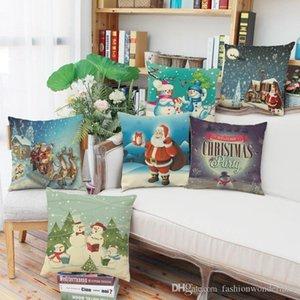 Cartoon Snowman Cushion Covers Santa Claus Christmas Festival Pillow Cases Thin Linen Cotton Pillow Covers Bedroom Sofa Decoration