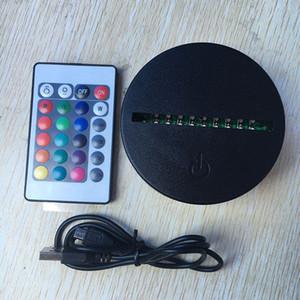 Remoto de la batería Bin 10 LED 3D óptico Lámparas táctil interruptor de iluminación de la novedad al por mayor de lámpara de mesa lámpara RGB Luces LED 3D IR Base