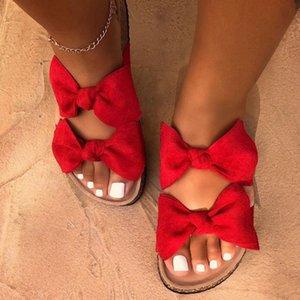 Sandalet Bow Düz Keten Yaz Kürsörler Espadrille Ayakkabı Chanclas De Mujer On Terlik Kadınlar Terlik Kadın Kayma