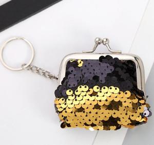 Min Wallet Frauen PU Sequin Geldbörsen Schlüsselanhänger Mix Farbe Haspe Münze Größe ändern 5 * 6cm