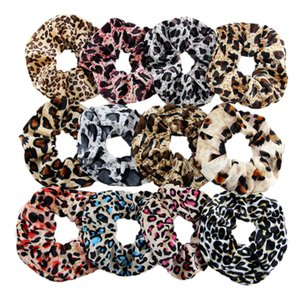 transporte livre 12pcs Grande animal do leopardo de cabelo Scrunchie Set Para as mulheres cetim Veludo Cabelo Elastic Rope rabo de cavalo titular Inverno Hairband cabelo Ac