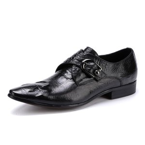 2020 New Fashion Buckle Mens Formal Shoes Male Dress Shoes Slip On Pointed Toe Hot Sale Genuine Leather Brand Top Quality Black