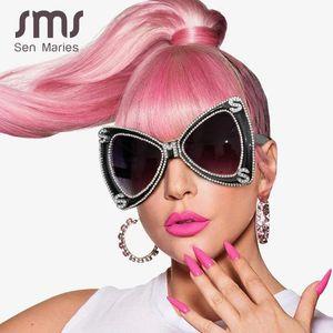 Sen Maries Diamant-Sonnenbrille-Frauen 2020 Luxulry Marke Schmetterling übergroße Sonnenbrille-Männer Weinlese-Kristallglas Uv400 Oculos OjMQe