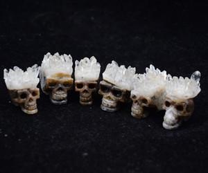 1 шт. Натуральный Белый Прозрачный Кварц Кристалл drusy Точки кластера череп Резная фигурка Голова Скульптура Точка исцеления