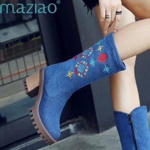 Damen Winter Schuhe plus große Größen-Stickerei-Qualitäts-Veloursleder-Frauen Denim Schuhe MAZIAO