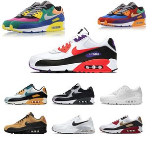 Airs clássico 90 Homens Mulheres Running Shoes Almofada superfície respirável Max 90 Branco Preto Casual Desporto Athletic Trainers Sneakers Big Size 47