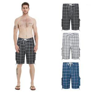Masculino Designer Shorts Mens Plus Size Plaid Shorts da praia do verão da forma solta respirável Multicolor Casual
