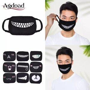 1 / 9pcs Yıkanabilir toz geçirmez Ağız Yüz Maskesi Anime Çizgi Kpop Şanslı Ayı Kadınlar Erkekler Pamuk Yüz Ağız Maskeleri Çocuklar Siyah