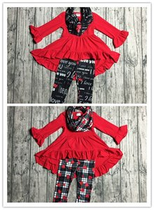 2 designs Fall winter baby girls Valentine's day 3 pieces with sacrf sets clothes children red dress top with plaid heart print