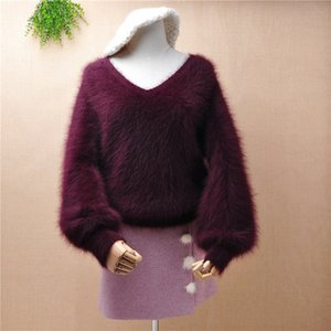 Top mujer women hairy fluffy mink cashmere knitted v-neck lazy oaf loose pullover angora hair winter jumper sweater tops