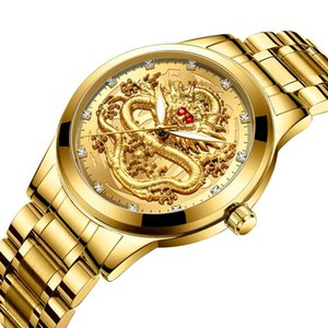 2021 hommes haut montre en or dragon rubis quartz en acier inoxydable homme de sexe masculin diamants de la mode étanche l'horloge d'affaires décontractée
