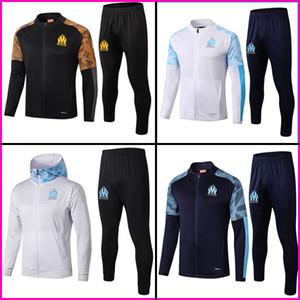 19 20 Olympique de Marseille OM Hommes costume de survêtement d'entraînement de football maillot de PAYET pied THAUVIN BENEDETTO football veste de jogging uniforme