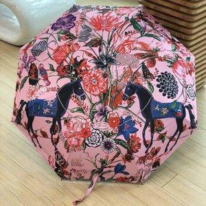 Старинные цветочные лошади печатных зонтик мода полностью автоматическая УФ-защита зонтики личности портативный складной зонтик дождя