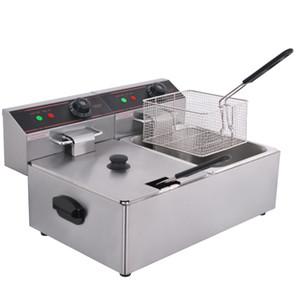 Kolice tanques duplas 2x6L frango Chip Fryer Potato Fryer Elétrica Fritadeira cesto frango KFC Frying Máquina de fritura máquina