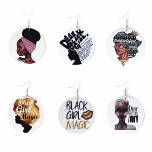 6styles Brief afrikanischen Kopf Abbildung Bunte hängende Ohrringe baumeln bedruckte Holz Eardrop Ohrbügel Frauen Fashion Jewelry Geschenke