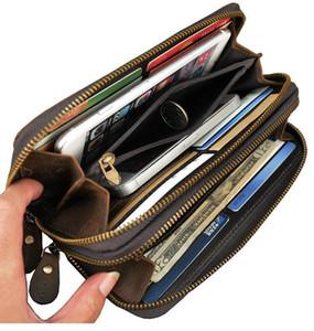 Atacado 3 cores da moda duplas homens do desenhista zipper mulheres senhoras de couro carteira de senhora longo bolsa 60017