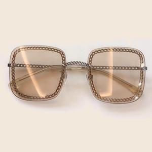 Роскошные Летние Квадратные Солнцезащитные Очки Для Женщин 2019 Марка Дизайнер Vintage Chain Shades Женская Мода Солнцезащитные Очки Высокого Качества С Коробкой
