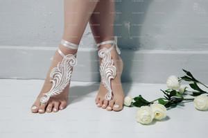 Plaj Dantel Düğün Barefoot Sandalet Ayakkabı Nedime Hediye düğün sandalet Gelin Halhal Kayış Düğün Aksesuarları Ucuz Kaliteli