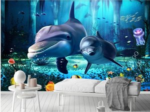 Custom wallpapers Underwater world dolphin wallpapers plant 3D stereo porch background 3d stereoscopic wallpaper