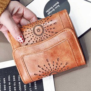 1 hot selling European and American vintage short wallet large capacity small wallet hollow oil wax skin 30 % off Ms.