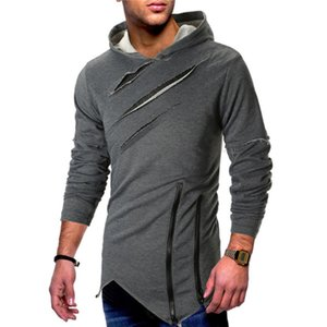 2018 New Style Fashion Hot Solid Men's Zipper Pullover Casual Hoodie Slim Fit With Hat Irregular Outwear