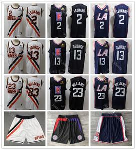 Los AngelesClippers Homens juventude caçoa 13 George 23 Williams 2 Leonard White City 2019/20 Edição Basketball Jersey costurado Shorts1