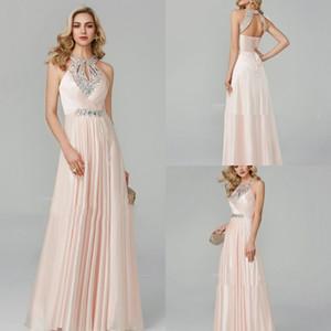 Light Pink Halter Prom Dresses Paillettes Lace Up morbido Satin Abiti da sera Plus Size Formale Party Dress abiti da damigella d'onore abiti da sera