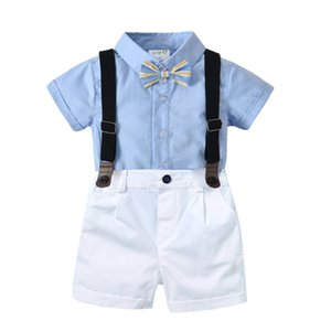 15567 Summer Baby Gentleman Boys Clothes Set Bowtie Shirt + Suspender Shorts Kids 2pcs Set Children Boy Outfits
