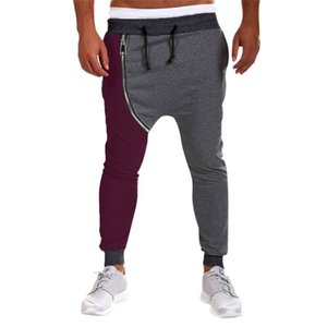 Primavera para hombre ocasional otoño Otoño Invierno algodón con cremallera Hip Hop Pantalones Joggers peso medio Harem Pantalones con cordón